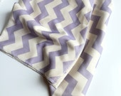 Baby Blanket, Lavender Chevron, Soft Stretchy Organic Cotton, Toddler or Baby