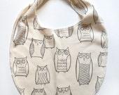 Organic Baby Bib, Owl Illustrations, Jersey Stretchy Over-The-Head Bib