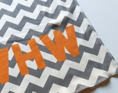 Organic Baby Blanket, Custom with Name and Color, Chevron, Neutral Soft Baby Bedding