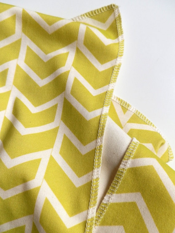 Modern Baby Blanket, Chartreuse Yellow - Green Chevron, Super Soft Organic Cotton, Mod