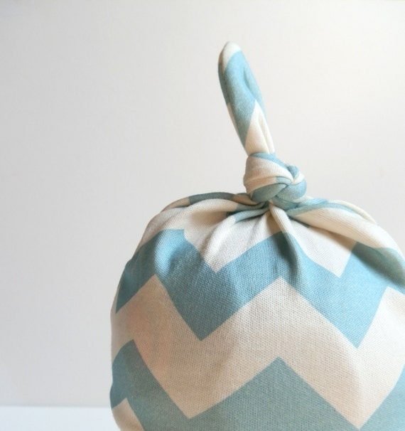 Baby Hat, Turquoise Blue Chevron, 0-6m, Organic Cotton Knotted Baby Hat