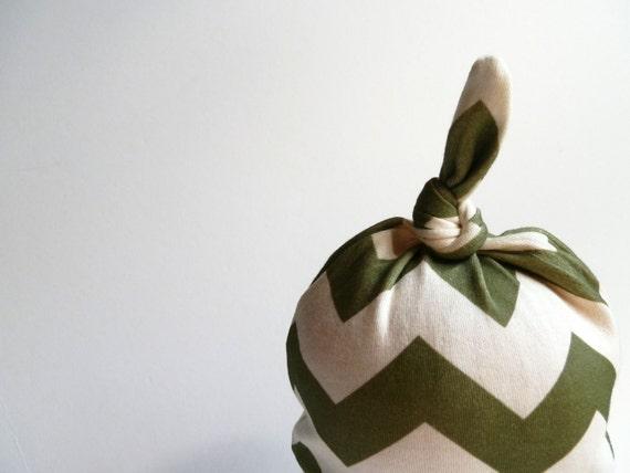 Newborn Hat, Olive Green Chevron, Organic Cotton Beanie, New Baby Gift