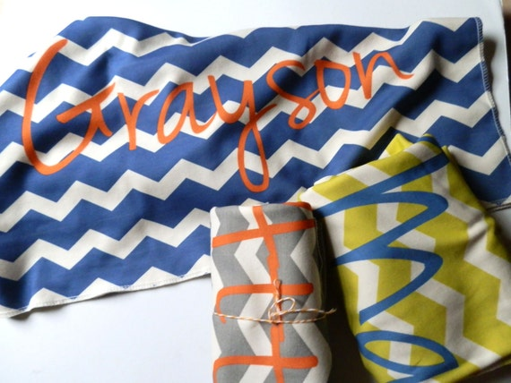 Personalized Toddler Blanket, Chevron, You Choose Color and Font, MonogrammedToddler Bedding