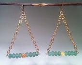 Gold & Aventurine 'Valencia' Earrings by Zanne