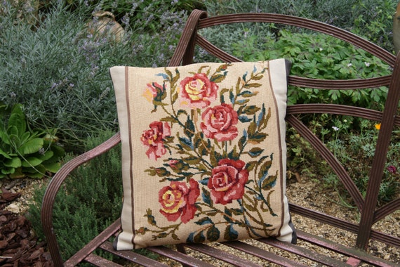 French 1950s Rose Tapestry Cushion