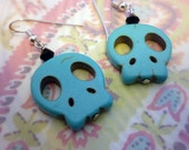 Sterling Silver Ear Wires and Howlite Turqouise Skulls: Cute & Unique