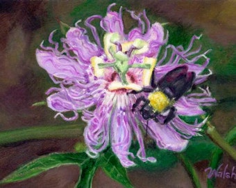"Original Oil Painting: Wildflower Purple Passion Flower with Bee ""Passionate Pollinator"""