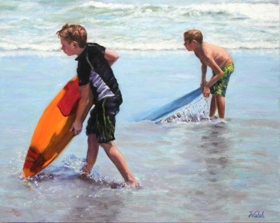 """Original Oil Painting: two boys & boogie boards at beach """"Boogie Boys"""""""
