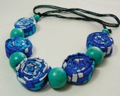 Turquoise Fabric Necklace, spirals,  bright and fanciful