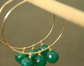 Gold Hoop Earrings with Emerald Green Onyx, 14 KT Gold Filled