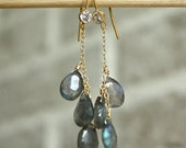 Dangling Labradorite Gemstone Earrings with Cubic Zirconia Setting - 14kt Gold Filled