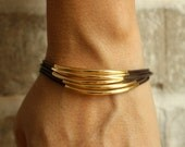 Thin Dark Brown Leather Bracelet with Gold Tube Accents