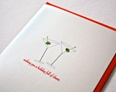 Holiday Cards Christmas Cards Boxed Set, Martini Design, Swarovski Greeting Cards