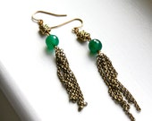 Green Onyx Earrings with Dangling Antique Brass Chains