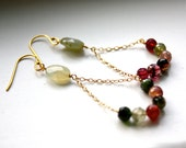 Rainbow Tourmaline Trapeze Earrings 14kt Gold Filled