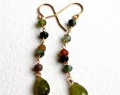 Colorful Earthy Boho Chic Earrings with Jasper and Olive Green Garnet (14kt gold filled), Dangling Gemstone Earrings