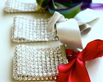 Bridesmaid Bracelet Rhinestone Cuff Bracelet w/ Silk Ribbon Tie