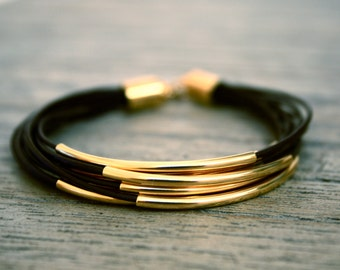Black Leather Bracelet with Gold Tube Accents (also available in SILVER), 6 strands bracelet