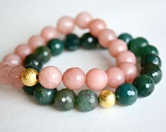 Peach Jade and Green Moss Agate Beaded Bracelets, Stacking Bracelet