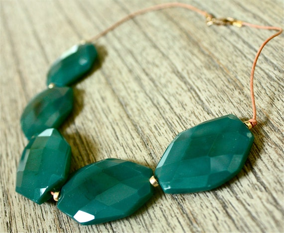 Green Jade Nugget Necklace on Leather Cord