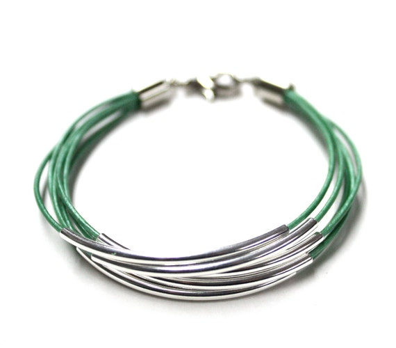 SALE Metallic Mint Green Leather Bracelet with Gold Tube Accents (also available in SILVER), 6 strands bracelet
