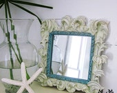 Shabby Chic Hand Painted Vintage Mirror with Scrolls and Leaves