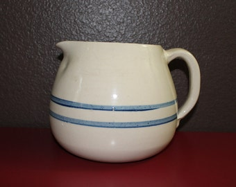 French Country Earthenware Pitcher Pot Blue Stripes