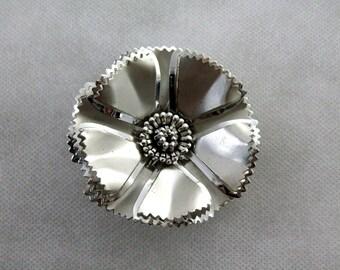Vintage Metal Flower Brooch Pin 1960s