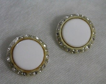 Vintage Earrings White Surrounded by Rhinestones 1960s Beautiful