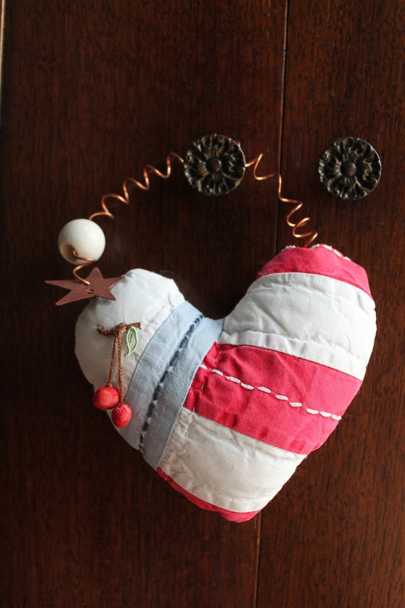 Upcycled Quilt Valentine Heart Ornament With Cherries Recycled