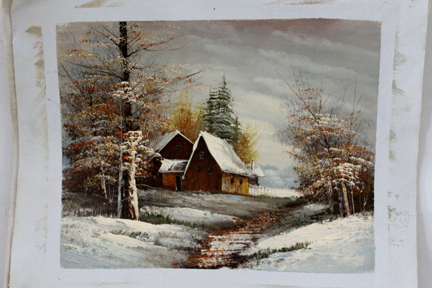 Unstretched Canvas Oil Painting Barn In Snow By