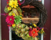 Gerbera Daisy Grapevine Wreath in Pink, Orange, Yellow, and Green Large 20-inch Spring and Summer Door Décor