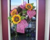 Sunflower Grapevine Wreath with Raspberry Burlap Netting and Moss Raffia Medium 20-inch Summer and Fall Door Décor