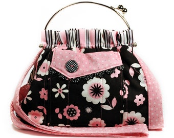 Pink Black Bag Shoulder Strap Retro Flowers and Stripes