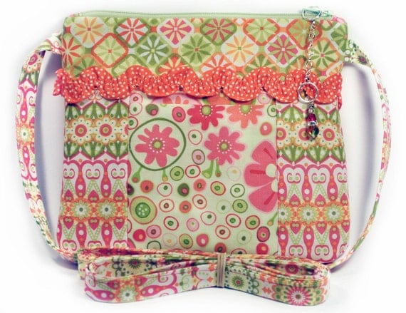 Organizer Crossbody Bag Pink, Orange, and Green Flower Print