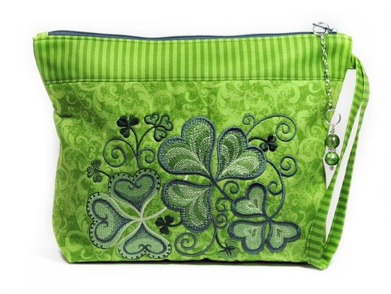 Shamrock Cosmetic Bag Green St Patricks Day