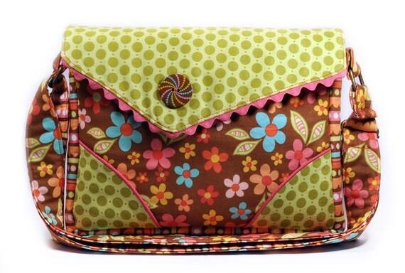 Shoulder Flap Bag Brown Green Hot Pink Retro Flowers
