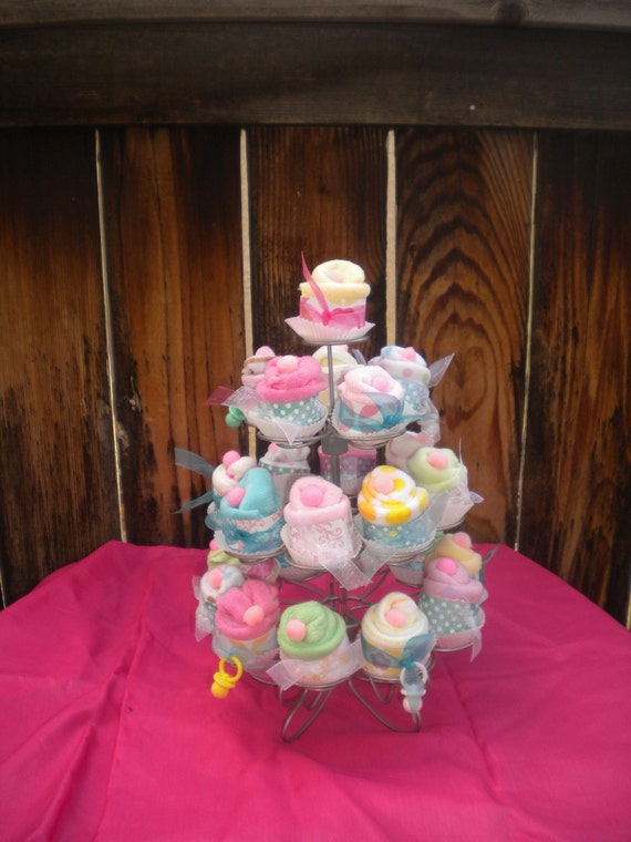 24pc Baby Shower Favors Washcloth Cup Cakes