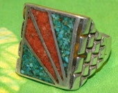 OLD PAWN NAVAJO Sterling Chip Inlay Ring c1960 Size 10.5