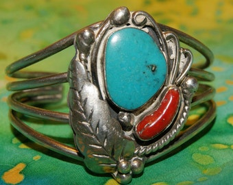 OLD PAWN NAVAJO Sterling Cuff Kingman Turquoise c1950