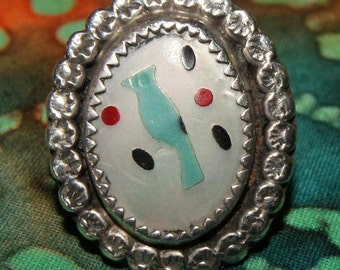 PAWN ZUNI RING Inlay Turquoise Sterling Size 8 c1950