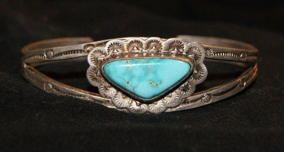 OLD PAWN NAVAJO Cuff Blue Gem Turquoise Sterling c1950