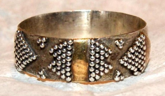 ESTATE ART DECO Sterling Silver Gold Ring Size 6 c1937