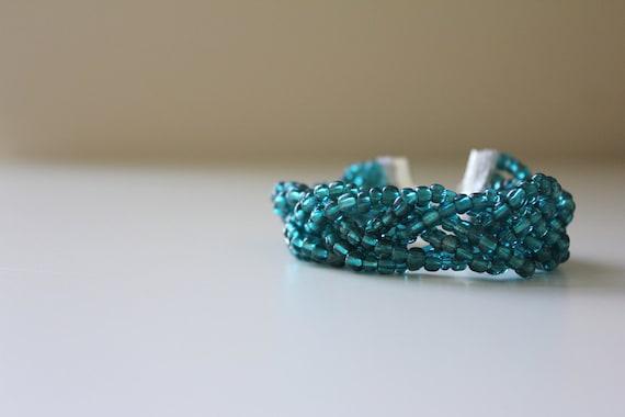 Braided Bead Bracelet - Teal glass beads