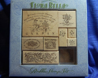 Flora Bella 9 Brenda Walton stamps, wooden backed. Slightly used.