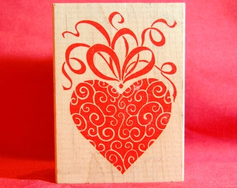 Fancy Heart. Wooden handle rubber stamp.  Lightly used.