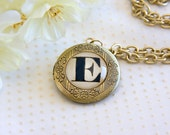 Monogrammed Antique Gold Pendant Locket Personalized with One Initial