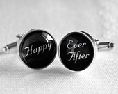 Wedding Cufflinks - Happy Ever After - Silver Plated Cufflinks - Perfect Gift for the Groom