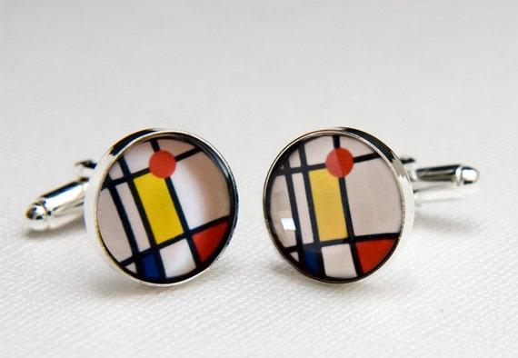 Stained Glass Cufflinks Piet Mondrian Style Cufflinks, Fine Modern Art Suit Accessories for Men