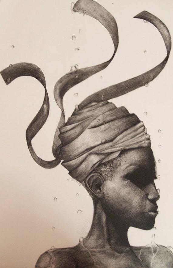 Reverse Rain -print of original drawing